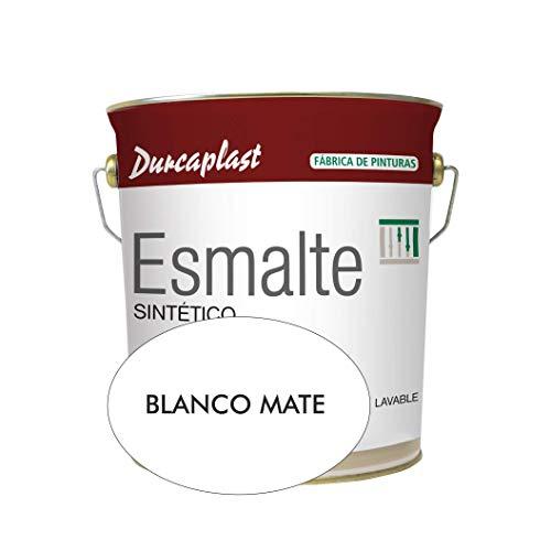 Pintura esmalte sintético Durcaplast, ideal para la protección, decoración y mantenimiento de superficies de hierro y madera. Uso Interior/Exterior (4L, BLANCO MATE)