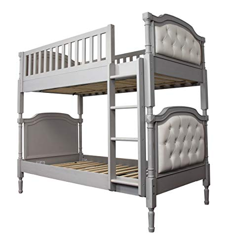 Acme Furniture Pearlie Twin Over Twin Bunk Bed, Gray & Pearl White PU