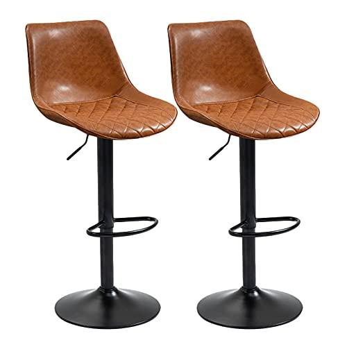 XFPINK-Shelf 2er-Set verstellbare Barhocker, Barhocker mit drehbarer Theke und Rückenlehne, Bartheken aus PU-Leder mit Fußstütze, Nordic Pub Kitchen Breakfast Dining Chair, Braun