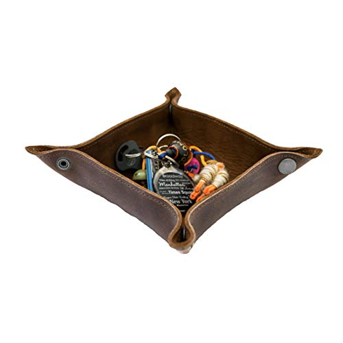 Leather Catchall Change Key Wallet Coin Box Tray Storage Valet Handmade by Hide & Drink :: Swayze Suede