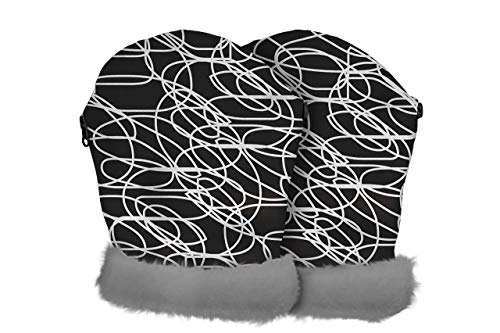 Tris & Ton – Manoplas impermeables para silla de paseo, guantes con forro polar (Line Black))