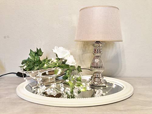 DRULINE Tischlampe Steffi Lampe Nachttischleuchte mit Schirm Klassische Dekoration fürs Schlafzimmer Wohnzimmer Esszimmer aus Keramik Silber Fuß Mittel H47 cm Hellbraun