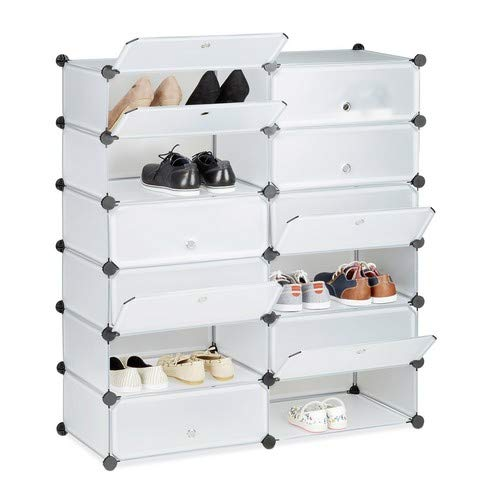 Relaxdays Schuhschrank Kunststoff, Schuhregal geschlossen, Regalsystem 12 Fächer, HxBxT: 108 x 94 x 37 cm, transparent
