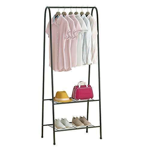 KAREZONINE Clothing Rack, Heavy Duty Clothes Rack Portable Garment Rack with 2-Tier Shelves, Double Rod Metal Coat Rack Freestanding with Bottom Shelves for Shoes Rack Organizer - Black