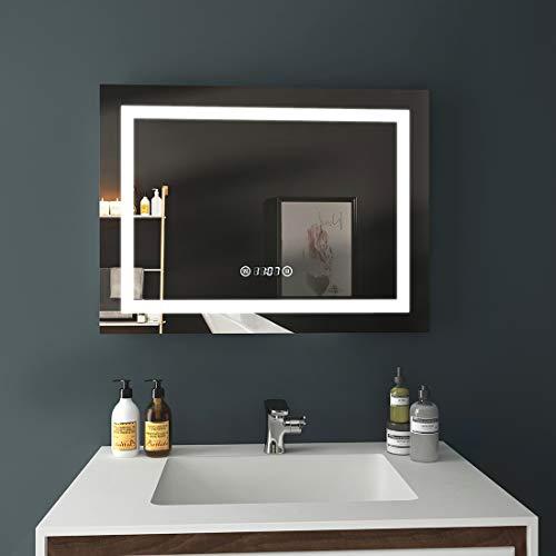 EMKE LED Badspiegel 80x60cm Beleuchtung Badezimmerspiegel Wandspiegel mit Touch-Schalter, Beschlagfrei, Uhr