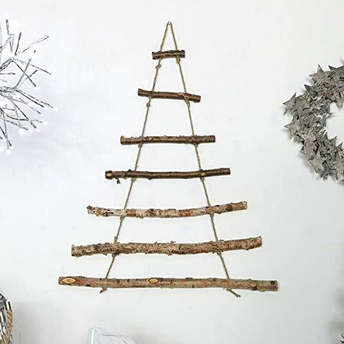 havalime Weihnachtsbaum Christbaum Wanddekoration aus 7 Holzstäben, 40 x 70 cm, Dunkles Holz, Hängedekoration
