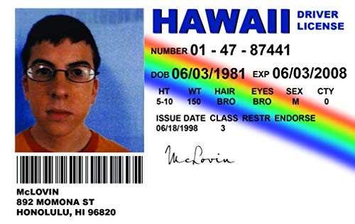 ALG ID-Karten - Superbad McLovin Autoausweis, Replik