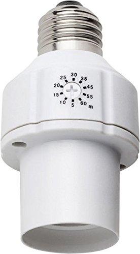 Ecosavers–Temporizador de lampbasetimer E27Base de la lámpara, acrílico, color blanco