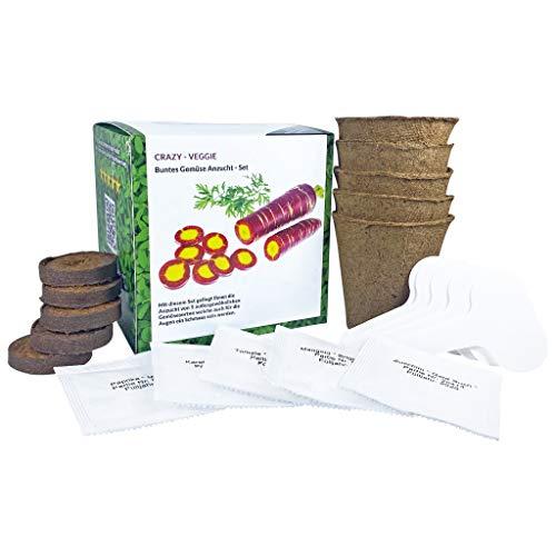 SeedPal - CRAZY VEGGIE - Buntes Gemüse Anzuchtset - das besondere Starter Set für Hobbygärtner inkl. E-BOOK- Pflanzen & züchten Sie Ihre außergewöhnlichen bunten Gemüsesorten