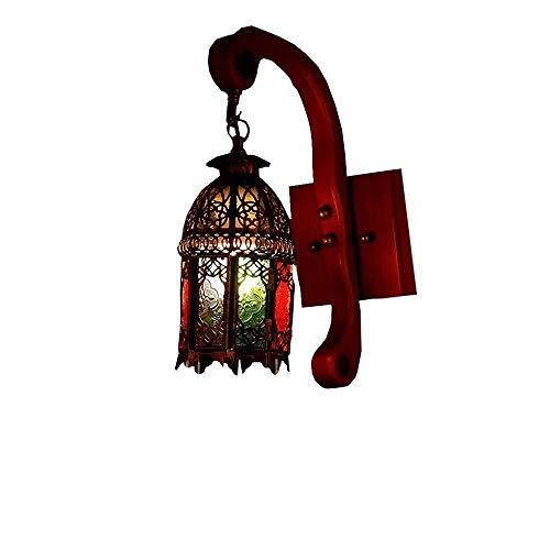 Retro mini lámpara de pared lámpara de pared de hierro muro cortina de vidrio de colores y lámpara europea farol de cristal retro pared del balcón de madera pasillo antiguo café de la barra