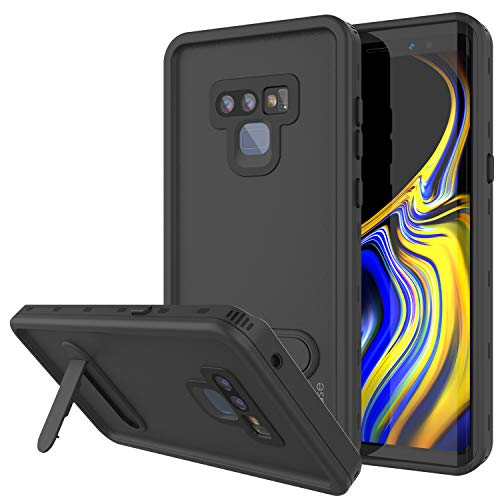 PunkCase Galaxy Note 9 Waterproof Case, [KickStud Series] [Slim Fit] [IP68 Certified] [Shockproof] [Snowproof] Armor Cover W/Built-in Kickstand + Screen Protector for Samsung Galaxy Note 9 [Black]