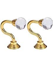 INCREWAY 1 par klar kristallgardin hållning väggmonterad tofs gardin tieback krok multianvändning väggkrok kappa hängare med skruvar Guld