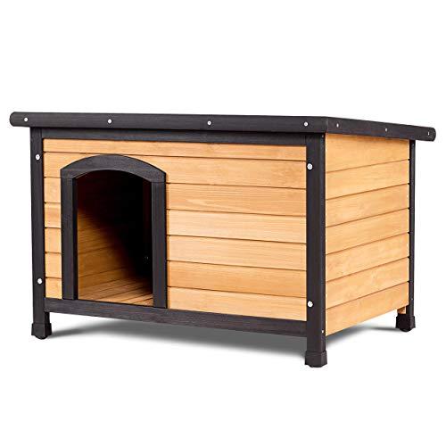 Tangkula Wood Dog House Large Pet Shelter Log Cabin Extreme Weather Resistant Dog House Adjustable Feet(M-Dog House)