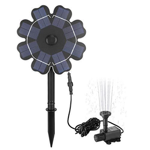 """Richarm Solarpumpe Vogelbad Brunnen 2,5 W Φ 7,7 """"Solarpanel Wassereigenschaften mit Anteil 9,84 Fuß Kabel Draussen Solar Gartenbrunnen für Teich, Rasen"""