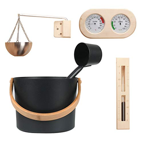 Sauna Bucket Set Sauna Accessories Supplies, 7L Luxury Aluminum Barrel With Ladle Hourglass Thermometer/hygrometer, Practical Complete Kit For Sauna