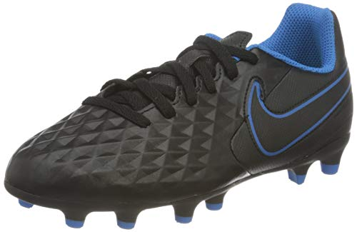 Nike JR Legend 8 Club FG/MG, Scarpe da Calcio, Black/Black-lt Photo Blue-Cyber, 35 EU