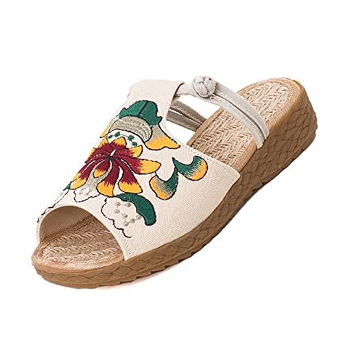 HAQMG Zapatillas para mujer con soporte de arco, con cuña de deslizamiento, cómodos, de algodón, lino, estilo étnico, con puntera abierta, bordada, color beige, talla: 37 EU)