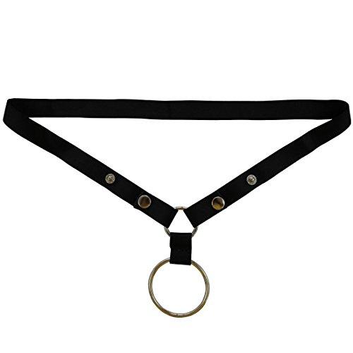 iEFiEL Men O Ring Lifter Snap Enhance G-String Bikini Support Underwear Black One Size