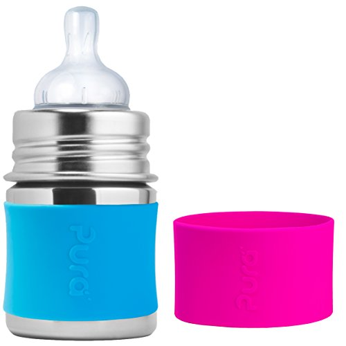 Review Pura Kiki Stainless Steel Infant Bottle with Aqua Silicone 5 Ounce, Plus Extra Pink Silicone ...