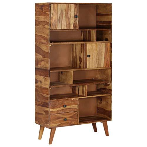ROMELAREU Highboard massief hout Sheesham 90 x 35 x 170 cm meubels kasten buffets & dressoirs