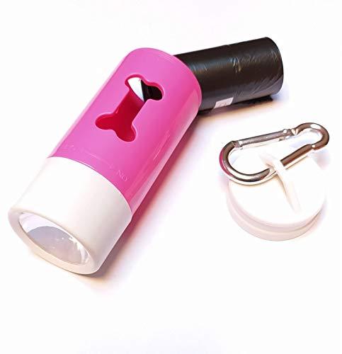 Dispenser Sacchetti igienici per Cane con Torcia LED e moschettone per aggancio rapido al guinzaglio