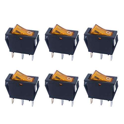 mxuteuk 6 piezas de luz amarilla iluminada a presión interruptor basculante para barco de encendido y apagado de 3 pines AC 250 V 6 A 125 V 10 A, uso para auto barco electrodomésticos MXU3-101NY
