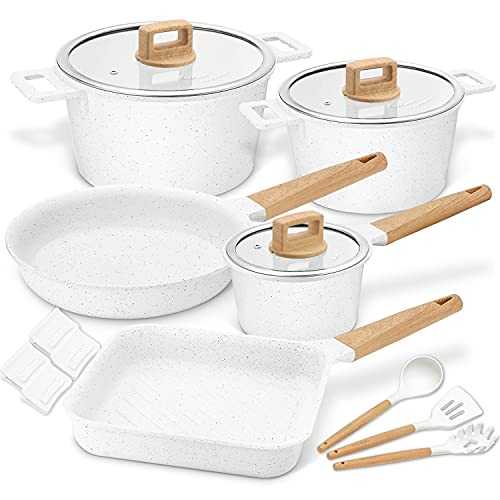 Cookware Set Non-Stick Scratch Resistant 100% PFOA Free Induction Aluminum Pots and Pans Set with Cooking Utensil Pack -15 - White