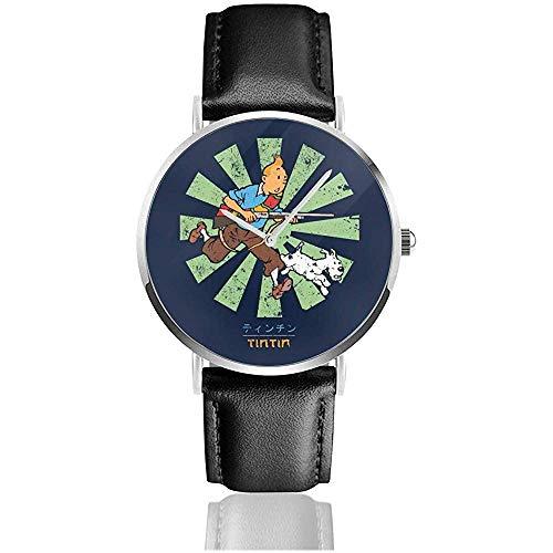 Business Casual Tintin Retro Japanese Watches Reloj de Cuero de Cuarzo con Correa de Cuero Negro