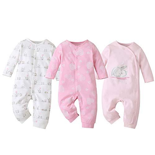 amropi Pack de 3 Mono Bebé Niñas Niños Peleles Pijama Mameluco de Manga Larga, 12-18 Meses,Rojo/Rosa/Blanco