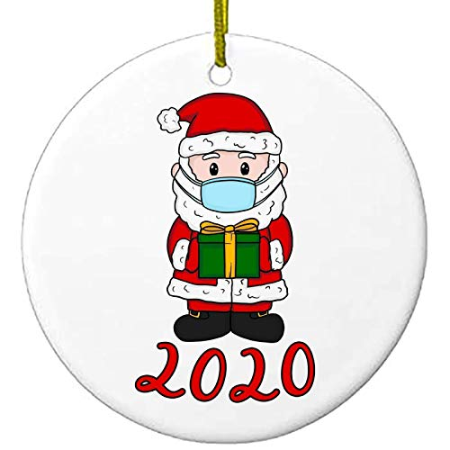 BERCOL 2020 Christmas Ornaments, 3 Inch Cute Santa Claus Xmas Merry Christmas Decorations Newest Theme Creative Gift Tree Ornament Kit Hanging Accessories for Home Indoor Outdoor Decor
