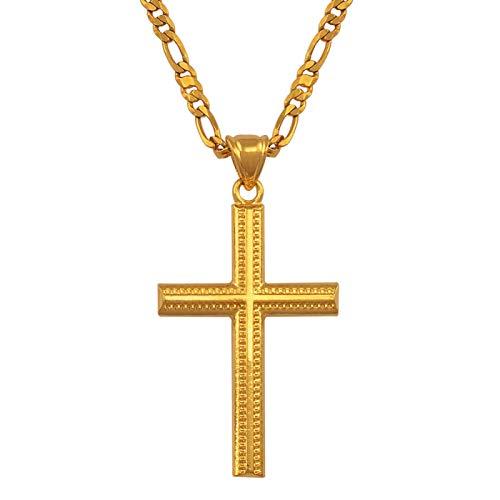 Colgante de cruz para mujer, collar para hombre, oro con colgante cristiano, joya de dios y cruz #066102