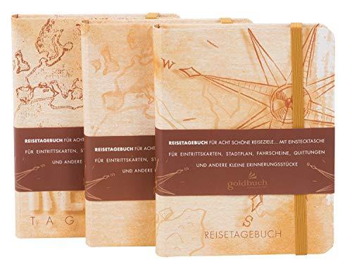 goldbuch Reisetagebuch, 17 x 13 cm, 200 illustrierte Seiten, Kunstdruck, Beige, 66 300