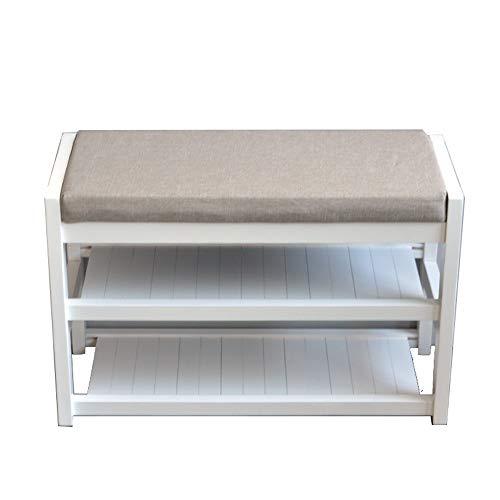 JIADUOBAO Bancos de almacenamiento de madera de pino de 2 capas con cojín de asiento, sala de estar, pasillo y guardarropa multifunción de pie, color: gris (tamaño: 60 cm)