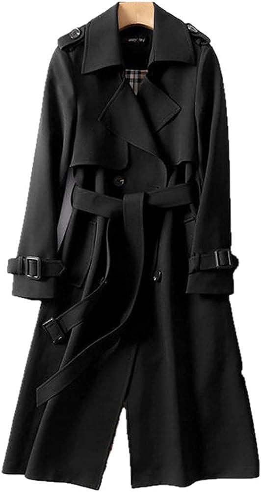 Fashion Korean style oversized spring and autumn women's windbreaker double-breasted long belted office ladies windbreaker cloak - Black,L