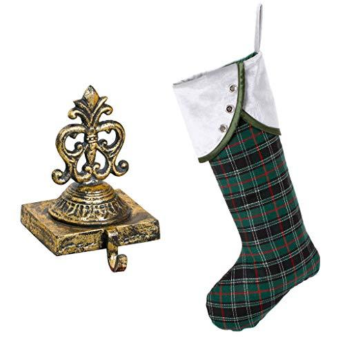 Dibor oro in ghisa per calza e verde tartan festive calza (B675+ B668)
