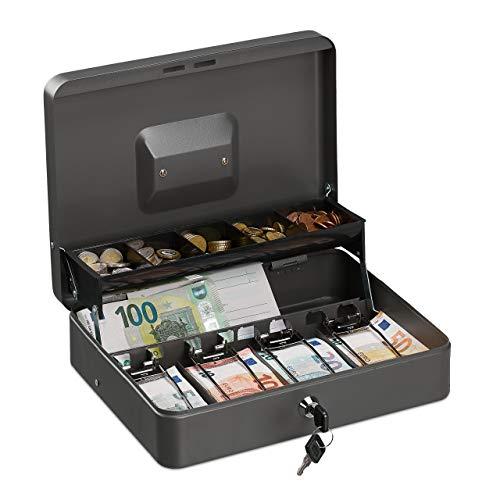 Relaxdays Geldkassette abschließbar, Münzeinsatz, 4 Scheinfächer, Geldkasse Eisen, Kasse HBT 8,5 x 30,5 x 24,5 cm, grau
