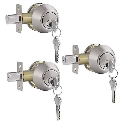 Gobrico 3 Pack Keyed-Alike Brushed Nickel Double Cylinder Deadbolts Door Locks Stainless Steel Keyed on Both Sides