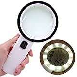 Mictiona Magnifying Glass with Light, 30X Handheld Large Magnifying Glass 12 LED Illuminated Lighted Magnifier for Macular Degeneration, Seniors Reading, Soldering, Inspection, Coins, Jewelry, Explori