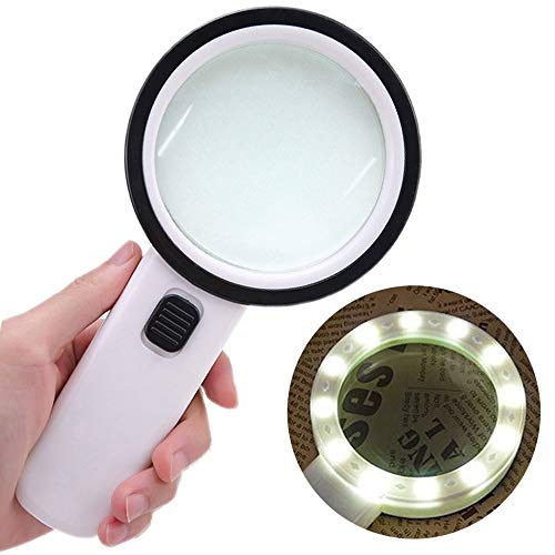 Riforla Magnifying Glass with Light,30X High Power Jumbo Lighted Magnifier Lens for Seniors Reading Small Print,Stamps, Map,Inspection, Macular Degeneration