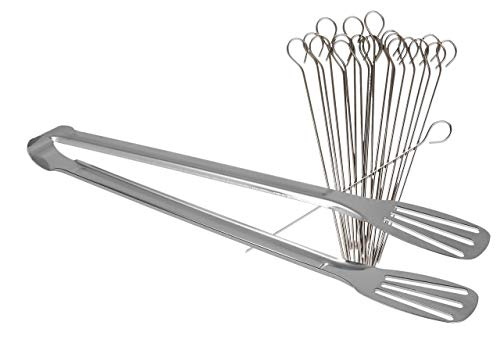 Lantelme Rouladennadeln und Fleischzange Edelstahl Küchenhelfer Set mit 20 Spießen und 1 Stück Rouladenzange 7911