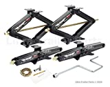 LIBRA Set of 4 5000 lb 24' RV Trailer Stabilizer Leveling Scissor Jacks w/Dual Power Drill Sockets & Complete Set of Mounting Hardware -Model# 26050