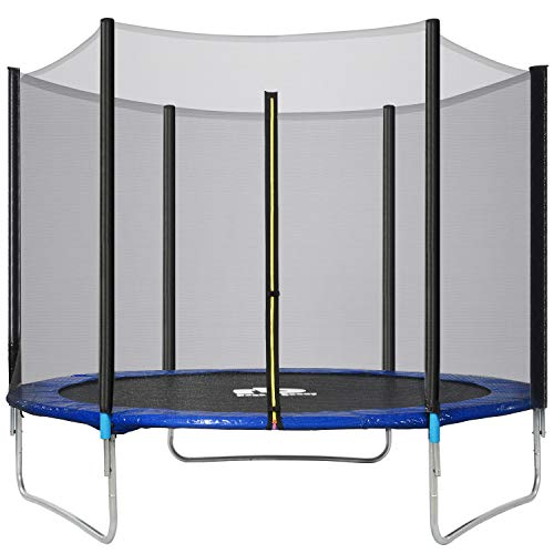 12FT Outdoor Trampoline, Kids Trampoline, Garden Trampoline with Safety Enclosure Netting and Ladder Edge Cover Jumping Mat (Diameter: 12FT)