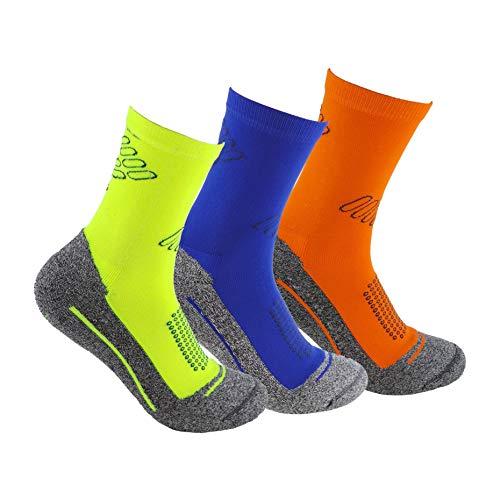 Calcetines deportivos (3 pares) SIN COSTURAS de alto rendimiento para hombre o mujer. Ideales para deportes como running, crossfit, ciclismo, pádel, trekking; Cómodos y resistentes. (Am/Az/Na, 43-46)