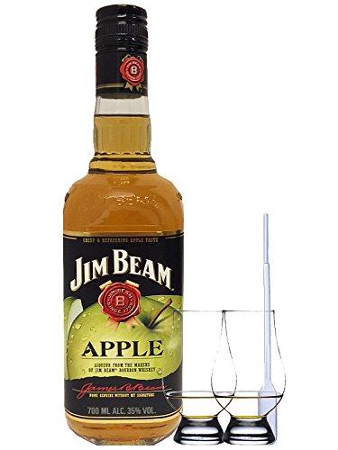 Jim Beam APPLE Whiskey 0,7 Liter + 2 Glencairn Gläser und Einwegpipette