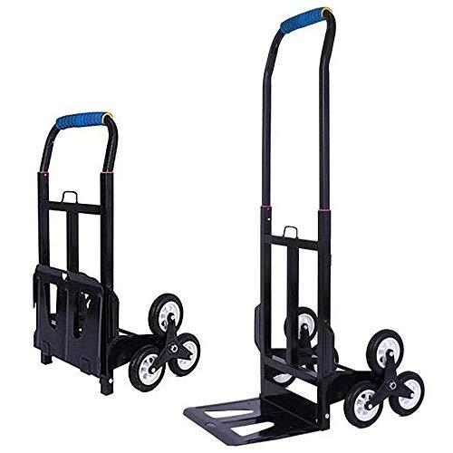 Carro de Compras Plegable de Acero con Ruedas de Goma antipinchazos y Capacidad de 60 kg,Carro de Mano Negro para Viajes, Compras, jardín, Interior, Exterior