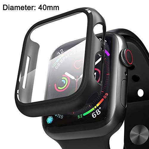 LANilianhuqa - Funda para Apple Watch Series 5 / Series 4 de 40 / 44 mm con protector de pantalla de vidrio templado, 360 ° de protección completa funda protectora ultra fina
