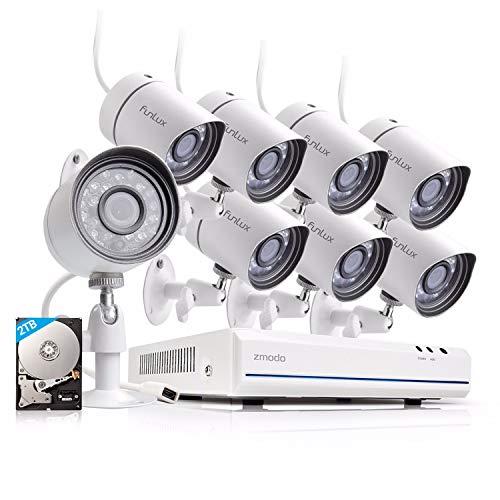 Funlux Überwachungskamerasystem für den Außenbereich, 8 Kanäle, 1080p, HDMI, NVR, vereinfacht, PoE 8, 720p HD, 2 TB Festplatte