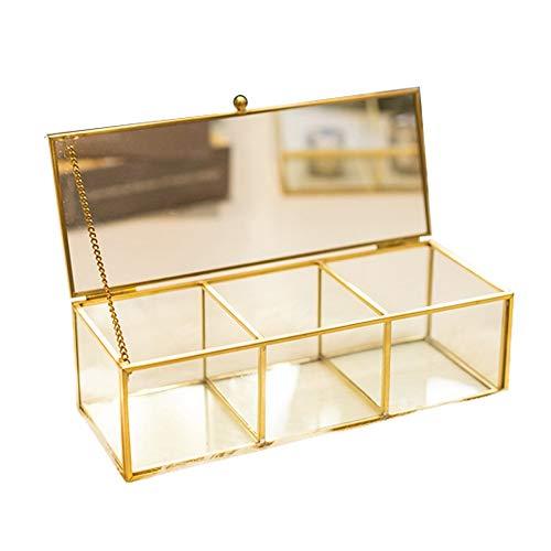 Sksngf Schmuck-Box, Großraum-Kupfer 3 Gitter Glas-Kasten-Dekoration, vorzügliche und einfachen Schmuck-Box, europäische Art, Schmuck Aufbewahrungsbehälter mit Staubschutz (Color : EIN)