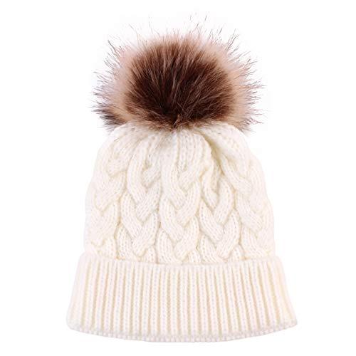 Yinuoday Gorro de punto de bebé invierno cálido lana infantil niños ganchillo Beanie Cap nuevo, blanco, Talla única