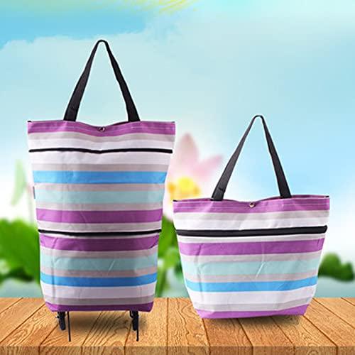 Folding Portable Shopping Bag Folding Stor kapacitet Trolley Shopping Köp Mat Trolley Väska på Hjul Väska Köp Grönsaker Shopping Organizer Bag 716 (Color : Big Purple stripe)
